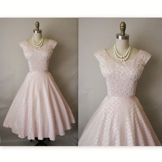 I <3 this too    50's Cocktail Dress // Vintage 1950's Pink by TheVintageStudio, $136.00