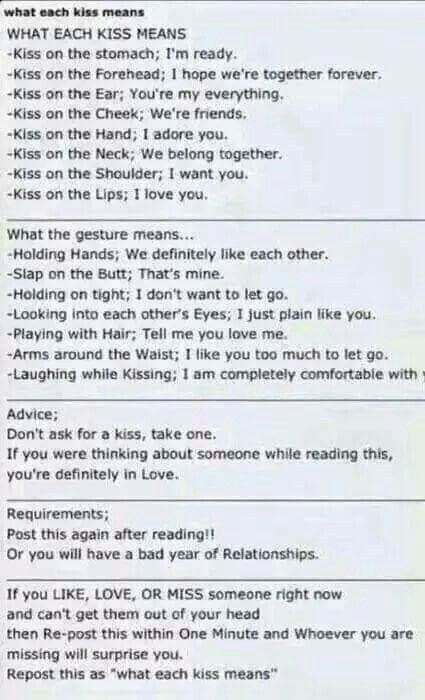 What each kiss means. But like, ignore the advice bc to ask for a kiss is so romantic.