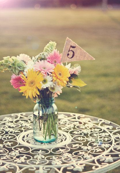 115 Burlap Table Numbers table number pennants by TheGlitteredBarn, $52.50