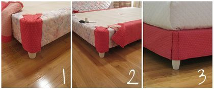 Upholster your box spring and get rid of your bed skirt. This is brilliant.
