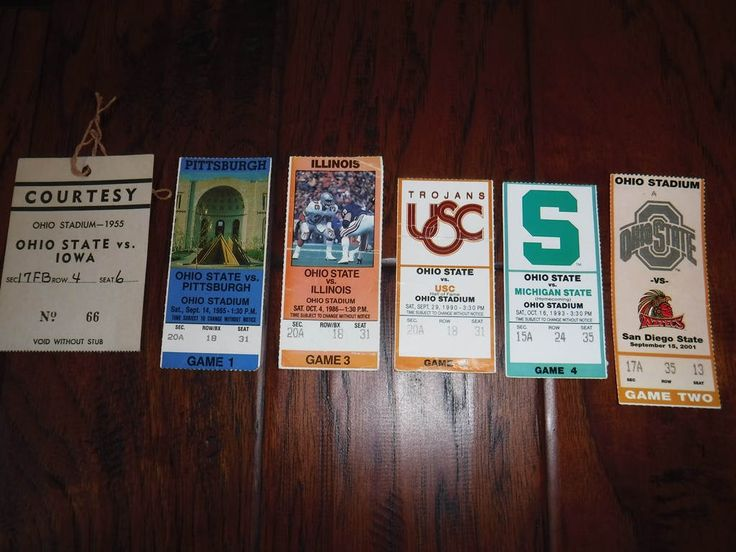 Vintage Ohio State Football ticket stubs 1955 85 86 90 93 and 2001 by MilliesAttique on Etsy