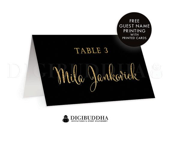 Black + Gold TENTED PLACE CARDS Wedding Escort Label Folded or Flat Placecards Black Gold Gatsby Deco Glitter Modern Rehearsal Dinner Available at digibuddha.com