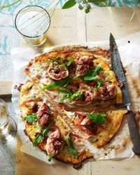 Gorgonzola, Fig and Pancetta Pizza Recipe from Food & Wine: Gorgonzola, Sweet, Italian Food, Pizza Recipes, Pancetta Pizza, Grilled Pizza, Figs