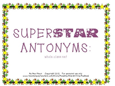 FREEBIE - Thanks to a link up with Manic Monday you can get my Superstar Antonym game, and freebies from many other teachers, too. Who doesn't love a freebie?