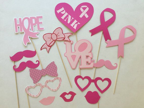 Breast Cancer Awareness Photo Booth Prop Breast Cancer Survivor Party Photobooth Props Set of 15