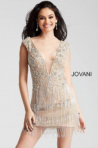 3a8edf10b9 Champagne Beaded Cap Sleeve Short Dress 53095  Jovani  FringeDress  Cocktail   Party