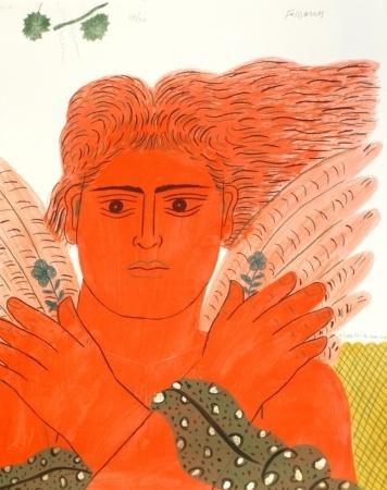 Lithograph - Alecos Fassianos - Pêcheur