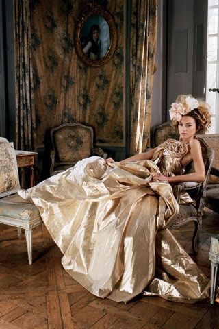 gold, gown, female, hat, reclining