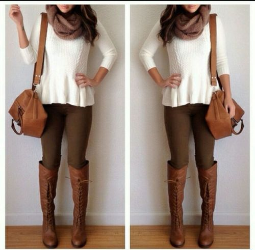 Brown leggings & boots & scarf with gorgeous white peplum sweater.