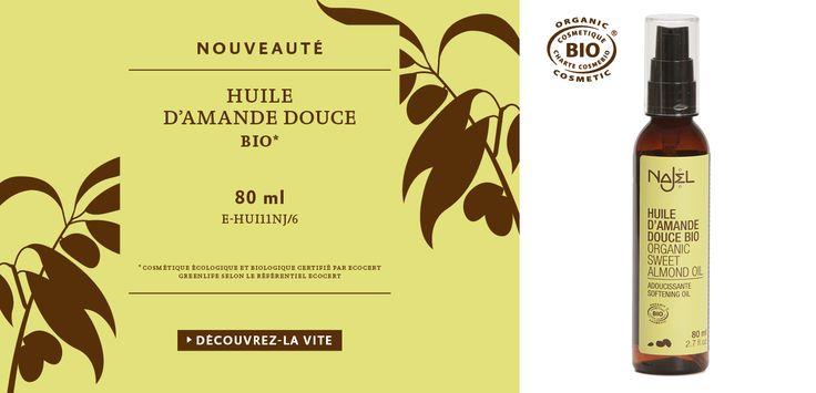 NOUVEAU !  L'huile d'AMANDE DOUCE NAJEL est maintenant certifiée BIO* par Ecocert !   Disponible sur http://boutique.najel.net/les-huiles/137-huile-d-amande-douce-bio-3760061221796.html     *Cosmétique Ecologique et Biologique certifié par Ecocert Greenlife selon le référentiel Ecocert