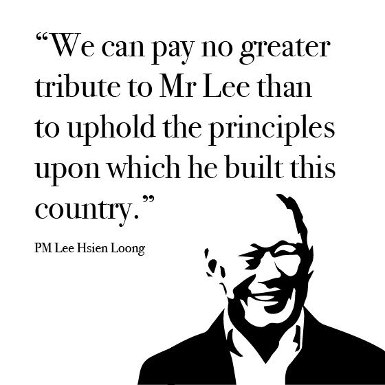 """""""We can pay no greater tribute to Mr Lee than to uphold the principles upon which he built this country"""" - PM Lee Hsien Loong, in his address in Parliament.  #TributetoLKY #LeeKuanYew #LKY"""