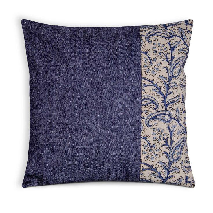 Indigo Denim Kalamkari Paisley Pillow Cover