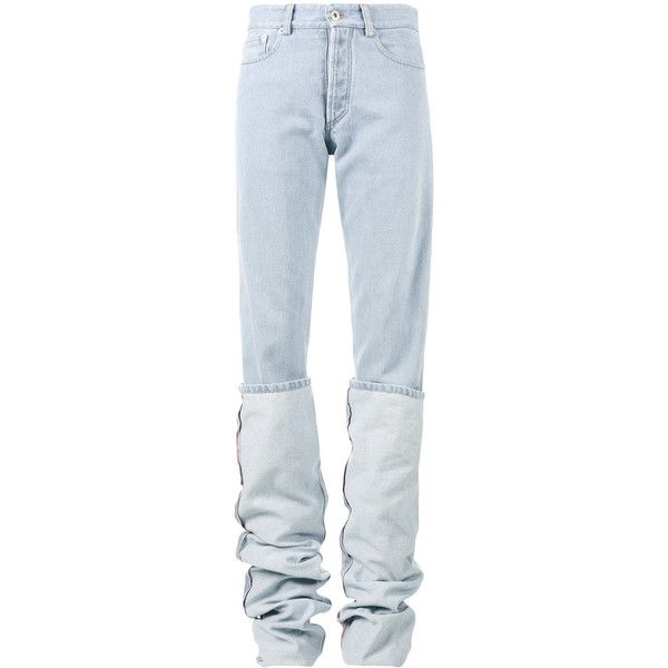 Y / Project oversized folded jeans ($361) ❤ liked on Polyvore featuring jeans, blue, blue jeans, folded jeans and oversized jeans