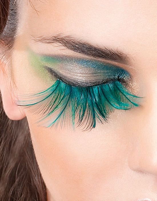 Green Feather False Eyelashes Extensions