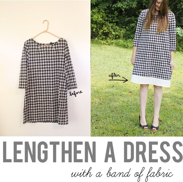 see kate sew: lengthen a dress with a band of fabric>>my black gathered dress, maybe houndstooth or black lace to the bottom #refashion #dress #sizeup
