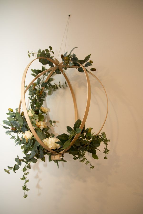 A trio of hanging floral bentwood spheres made of embroidery hoops and silk flowers. I made these for my wedding and hung them from trees for an altar / chandelier. This set of 3 includes: 1 Large Cream / Eucalyptus Sphere: – silk cabbage rose, dahlias & peonies in cream/ivory – faux eucalyptus leaves and …