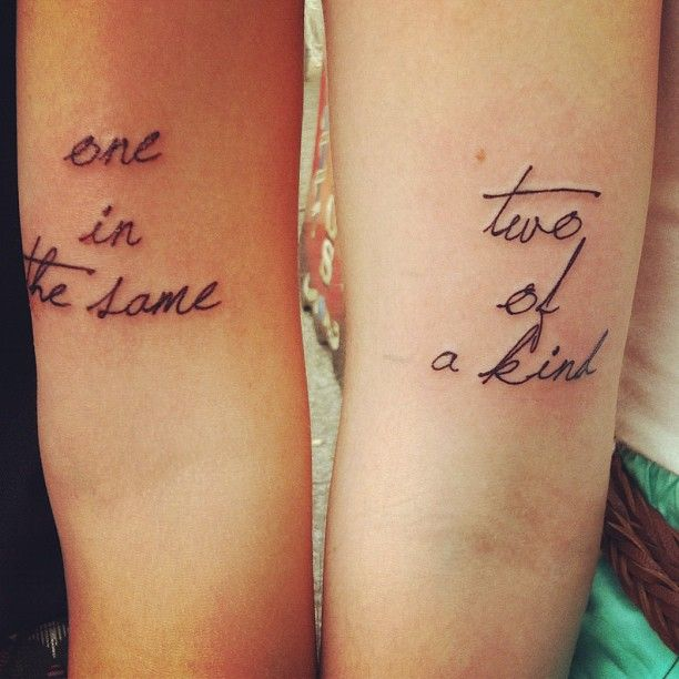 """""""my cousin and his wife's sweet tattoos."""" Nothing like having a grammatical error on your body for life. My OCD would not allow this and I'd have to get it fixed."""