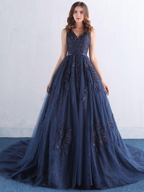 Gentle Applique Beading V-neck Sleeveless A-line Court Train Floor Length Evening Dress