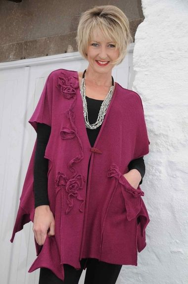 Zuza Bart berry wool knit jacket.f165