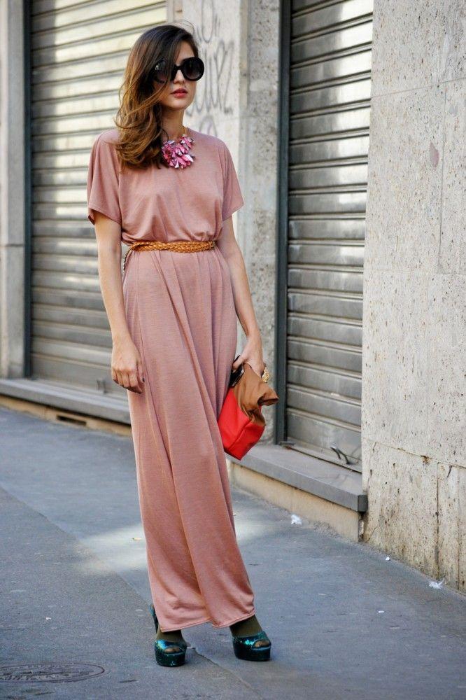 Casual Floor Length Blush Dress.