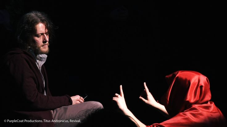© PurpleCoat Productions. 'Titus Andronicus Revival', Titus (Karl Falconer), Tamora (Siobhan Crinson)