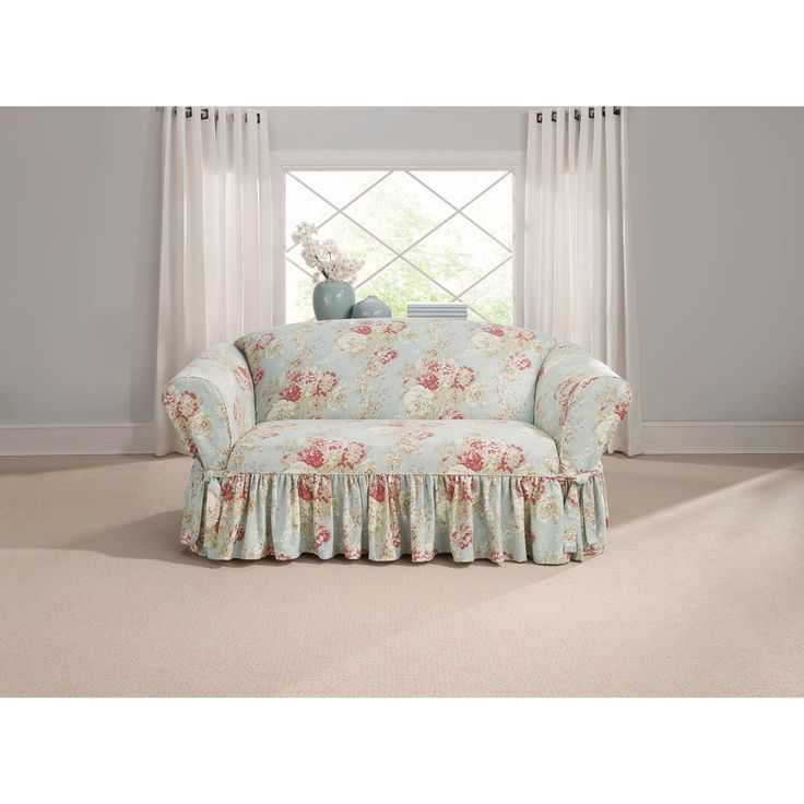 Sure Fit Ballad Bouquet Loveseat Skirted Slipcover (Loveseat, TEA Stain), Yellow (Cotton, Floral)