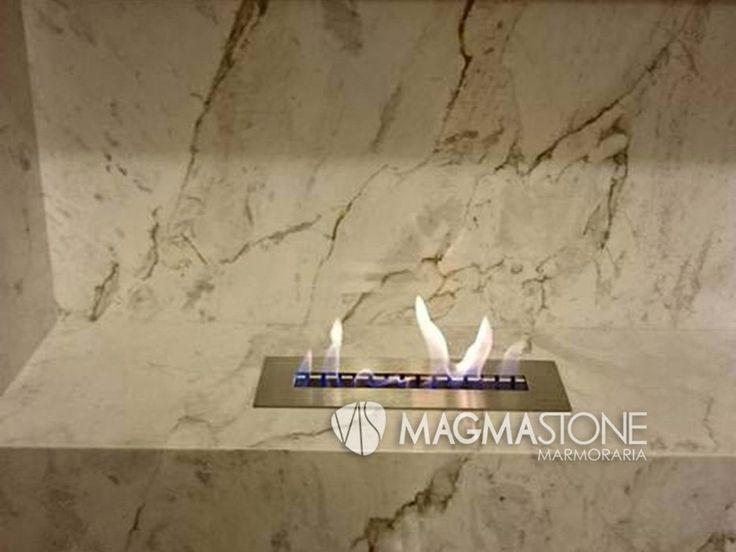 Lareira em Mármore Branco Paraná - Seu projeto sob medida em pedras naturais ou pedras industrializadas é com Magma Stone!