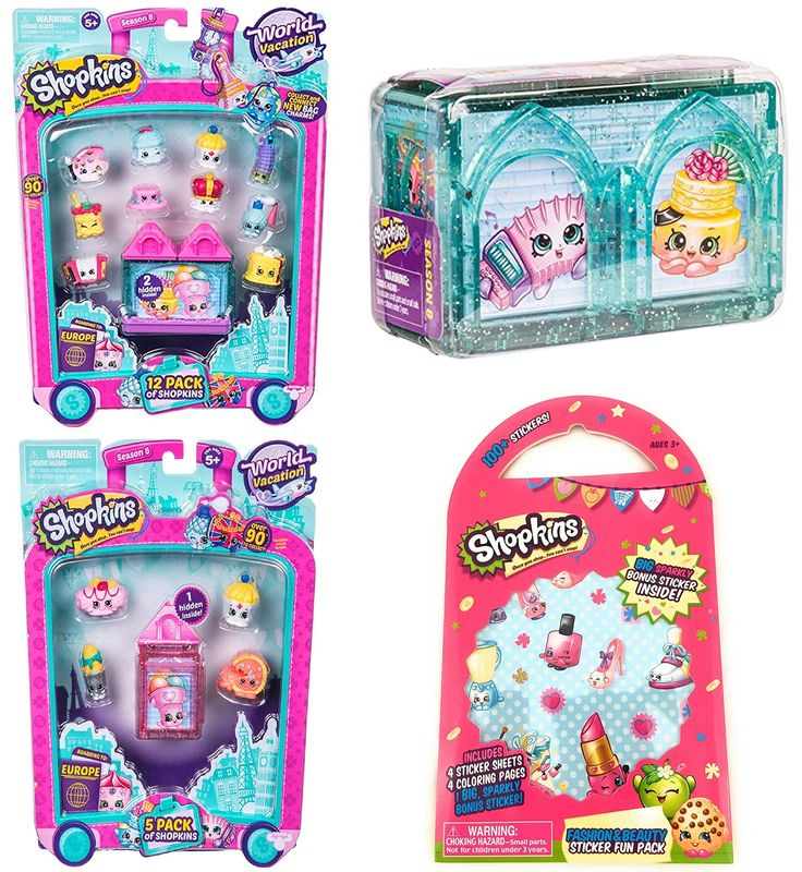 Shopkins World Vacation Season 8 Europe Gift Bundle includes 12 Pack, 5 Pack, 2 Pack and (Bonus 100+ Stickers, 4 Coloring Pages and 1 Big Sparkly Sticker). Bundle includes: one 12 Pack, one 5 Pack, one 2 Pack Mystery Box, 100+ Shopkins stickers (styles vary), 4 Coloring Pages and 1 Big Sparkly Sticker!. Your first stop on the Shopkins Season 8 World Vacation is Europe. Collect Shopkins from several teams including German Jet Set, Italian Tour, Spanish Stopover and UK Holiday Bundle. Comes...