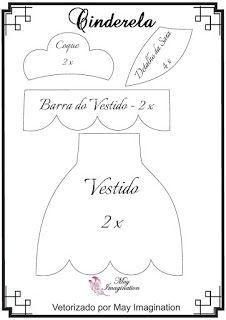 Molde Cinderela em feltro: Coque, Vestido, Barra do Vestido e detalhe da saia.