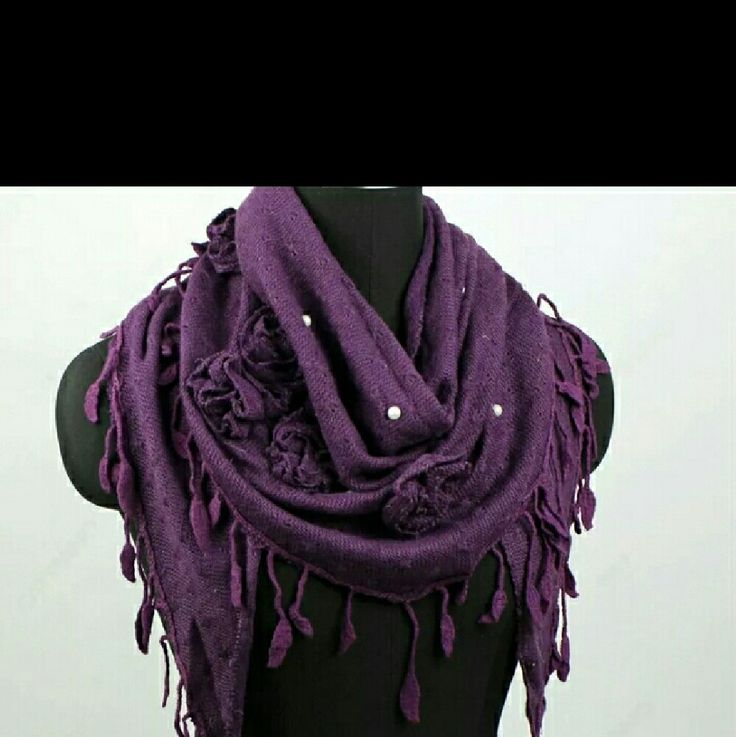 Hey, check out what I'm selling with Sello: Purple triangle scarf with floral and pearl embellishments http://sesenne.sello.com/shares/nMgnl