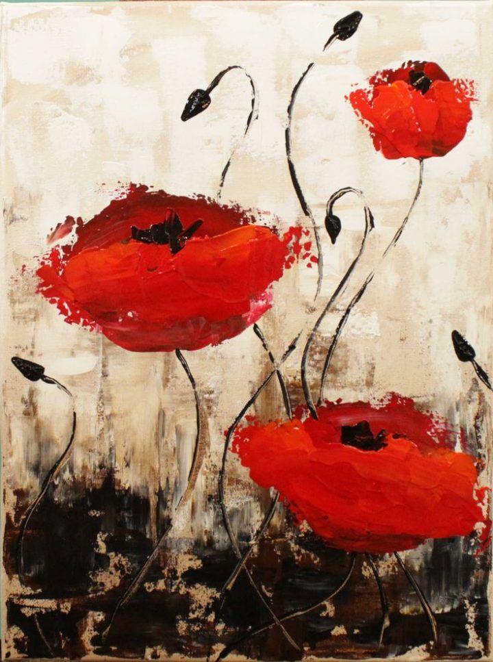 Impressionistische Mohnblumen Schritt Fur Schritt Acrylgemalde Auf Leinwand Fur Anfanger Einfachesmalen Tk Einfaches Malen Malerei Abstrakte Malerei Blumen Malen Acryl