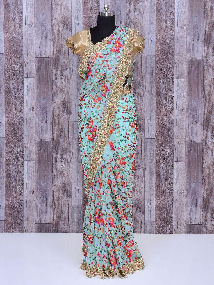 Embrpidered Blue Party Wear Saree In Net Fabric, Party wear saree, embroidered sarees