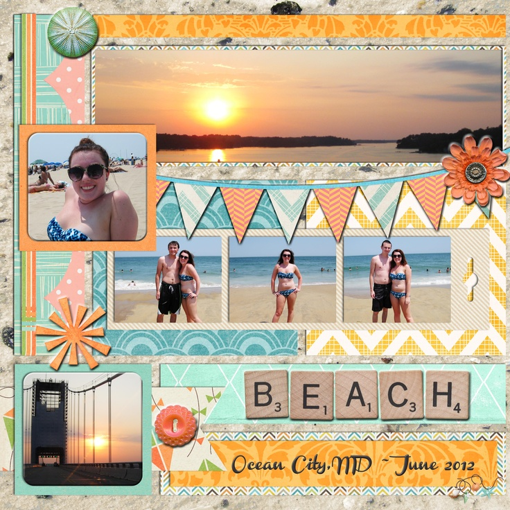 Digital Scrapbook Page, At the Beach, My DAUGHTER's 1st digital scrapbook pages!