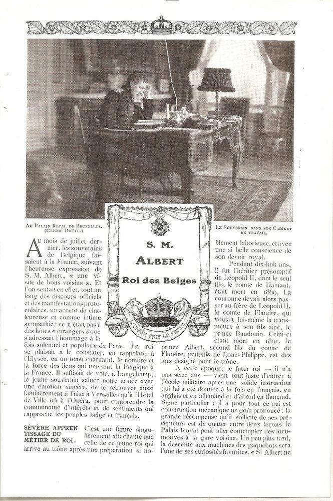 S M Albert - Roi des Belges  - -  Coupure de Presse (1910)