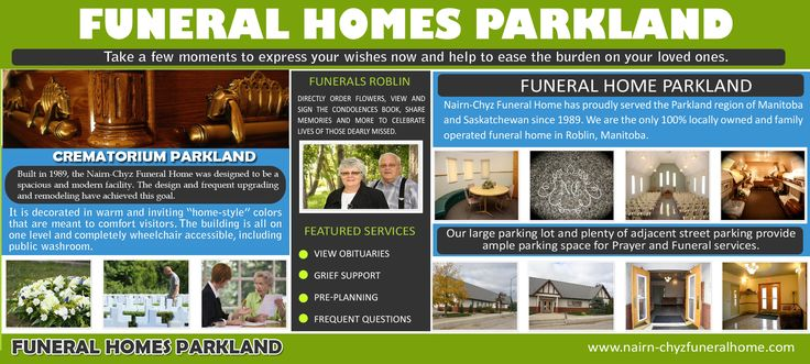 Check this link right here http://www.apsense.com/brand/nairn-chyzfuneralhome for more information on Funeral Homes Parkland. The Funeral Homes Parkland is responsible for retrieving the corpse from the place of death (hospital, house, nursing home, etc.)Follow us http://pixelhub.me/crematoriumroblin