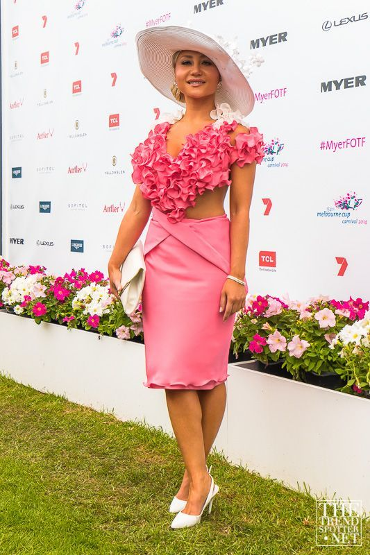 TheTrendSpotter.net Bully Zero Ambassador Cindy Carino dressed by Leiela for 2014 Melbourne Cup's Myer Fashions on the Field, Design Awards
