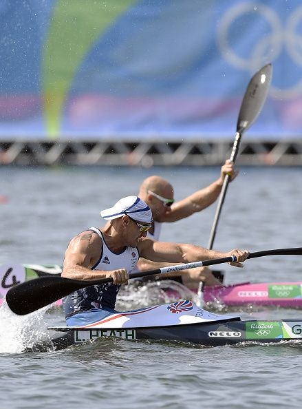 Britain's Liam Heath wins ahead of Germany's Ronny Rauhe in the Men's Kayak…