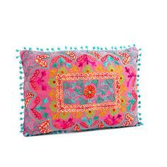 Pompom Embroidery Pillow Fuchsia, $29, now featured on Fab.