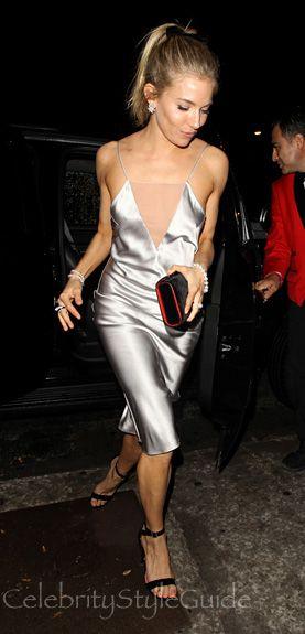 Sienna Miller Dazzles In Silver Slip Dress