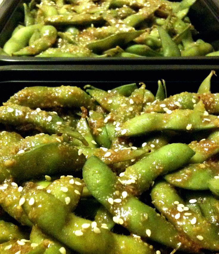 Garlic edamame (soy beans) 2 pounds prepared edamame Sauce: 1 ...