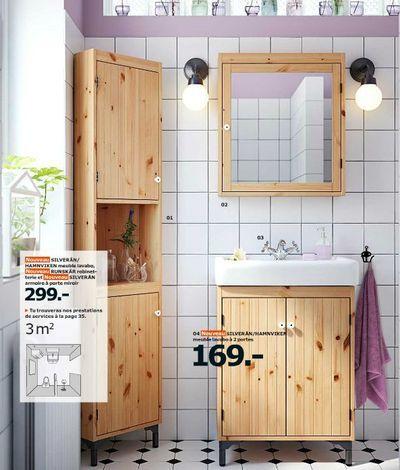 Salle de bains Silveran en bois du catalogue Salle de bains Ikea 2015