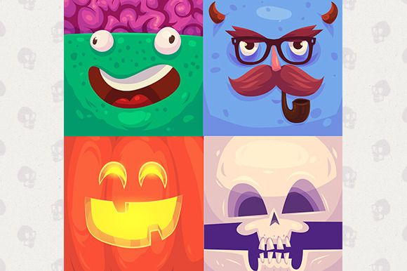 Cartoon monster faces (vector) by Krol on Creative Market