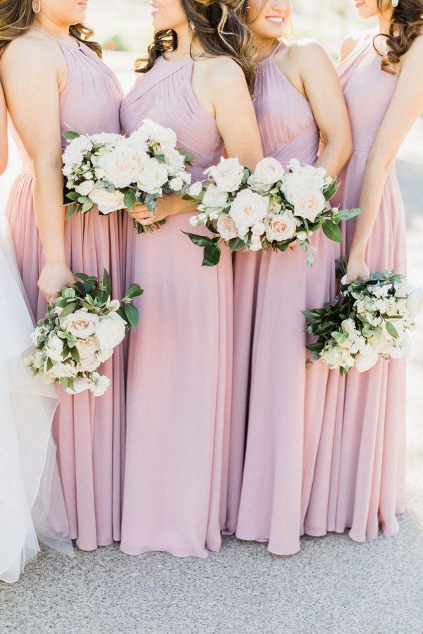 Modern Romance Wedding In Las Vegas Pink Bridesmaid Dresses
