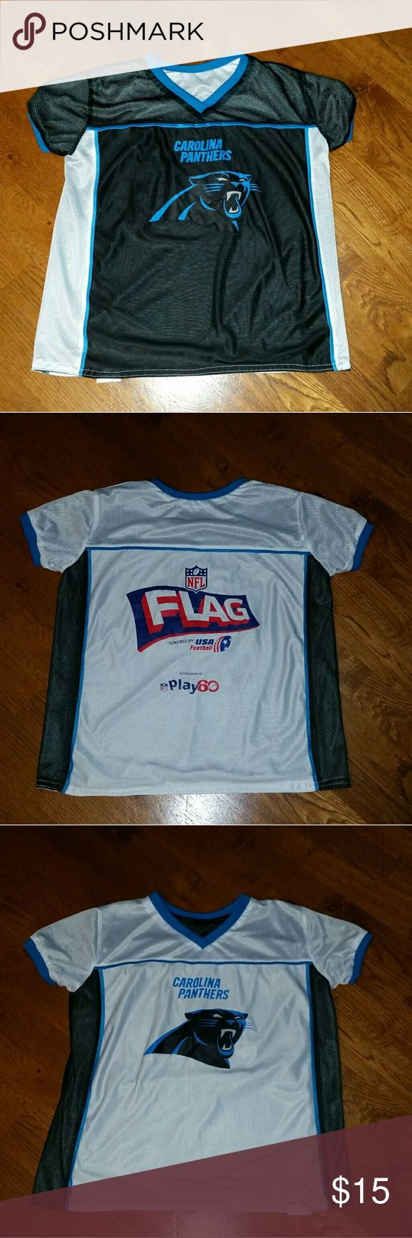 Panthers Reversible NFL Flag Football Jersey YLG Official Boy's Carolina Panthers Reversible NFL Flag Football Jersey Size YLG. Great condition. There are a few cracks on the logos from washing. See cracking in the pictures above. All items come from a smoke-free home. There are no refunds and no returns so please ask questions before purchasing. Thank you! NFL Other