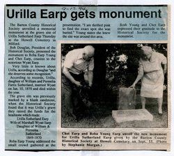 Urilla Earp gets monument