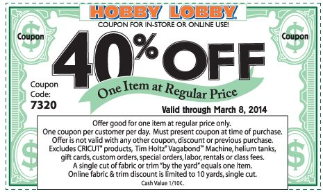 HOBBY LOBBY $$ Reminder: Coupon for 40% off One Item at Regular Price – Expires TODAY (3/8)!