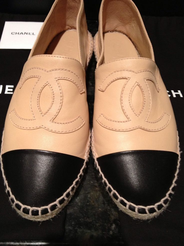 CHANEL ESPADRILLES BEIGE/BLACK LAMBSKIN FLAT SHOES SIZE 40 US 9 #CHANEL #Espadrilles