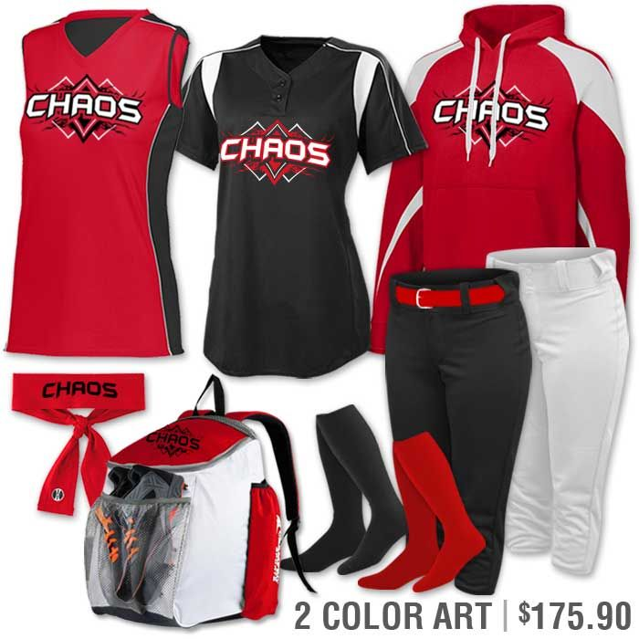 040c7681946 Softball Uniform Team Pack Paragon shown in Red, Black and White. More  colors available. Youth & Adult sizes.