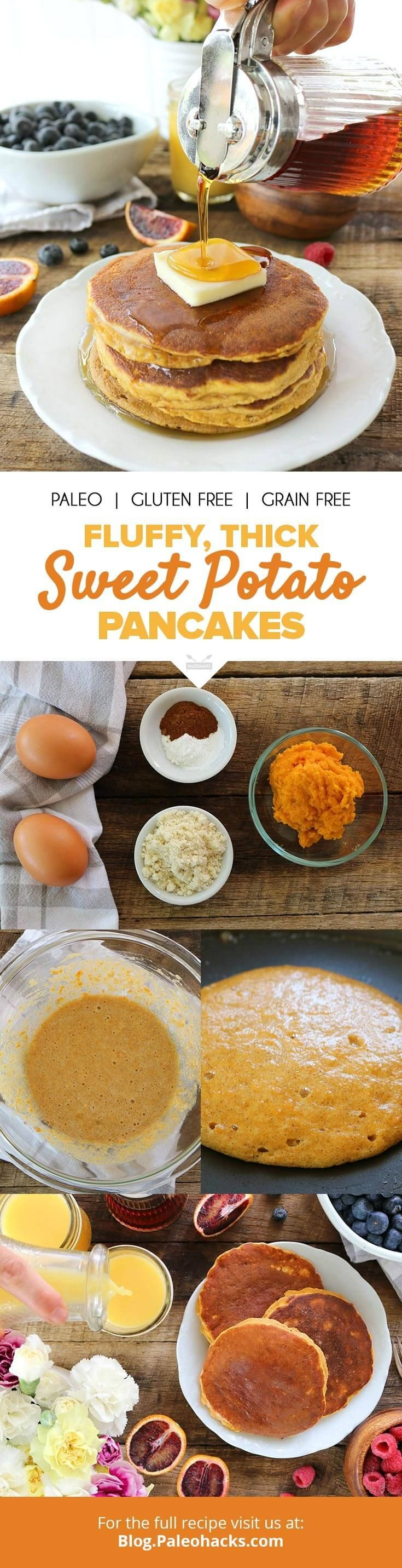 Fluffy and spiced, these sweet potato pancakes are just waiting to be smothered in grass-fed butter and maple syrup! Get the recipe here: http://paleo.co/SWPpancakes