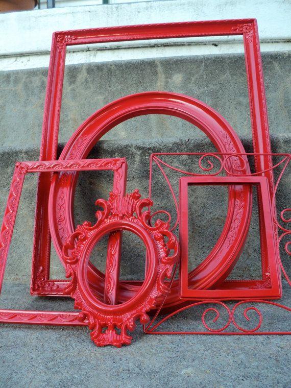 Red vintage picture frames.  Red, white & black: Atelier Swarovski by Diana Vreeland